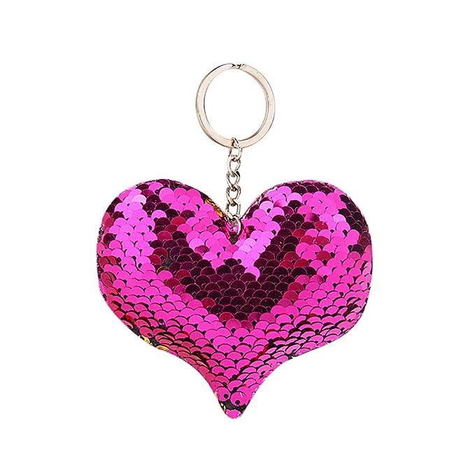 Amazon.com: Moda lentejuelas corazón bolsa colgante colorido ...