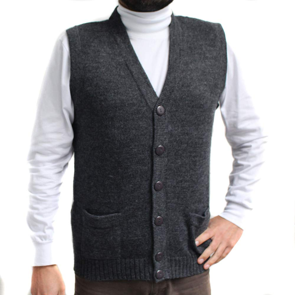 Vest alpaca and blend V neck buttons JERSEY made in PERU buttons and Pockets CHARCOAL GREY L
