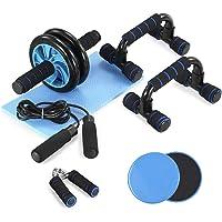 TOM SHOO 6-in-1 buikspier-set met push-up-staaf, glijschijven, springtouw en kniebeschermer, krachttraining…