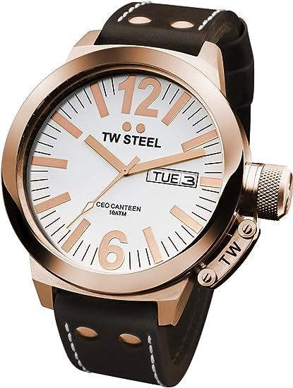 TW Steel CE1017 CEO Canteen - Reloj unisex de cuarzo, correa de piel color marrón: Amazon.es: Relojes