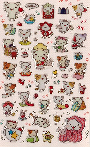 [DECO FAIRY] Cute Litte Cat Kitten Kitty Happy Life Style Stickers (50 Stickers)