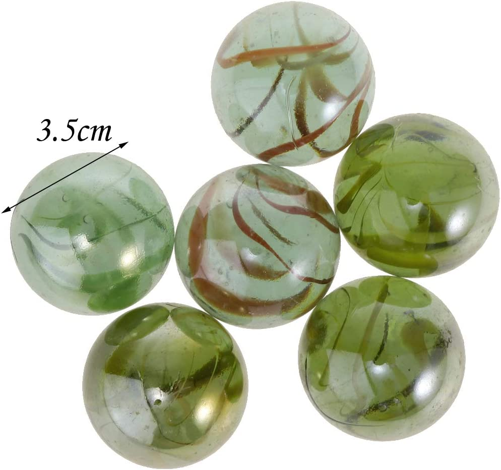 Toygogo 6pcs//set 35mm Glass Marbles Bulk For Marble Games Kids Toy Party Favors