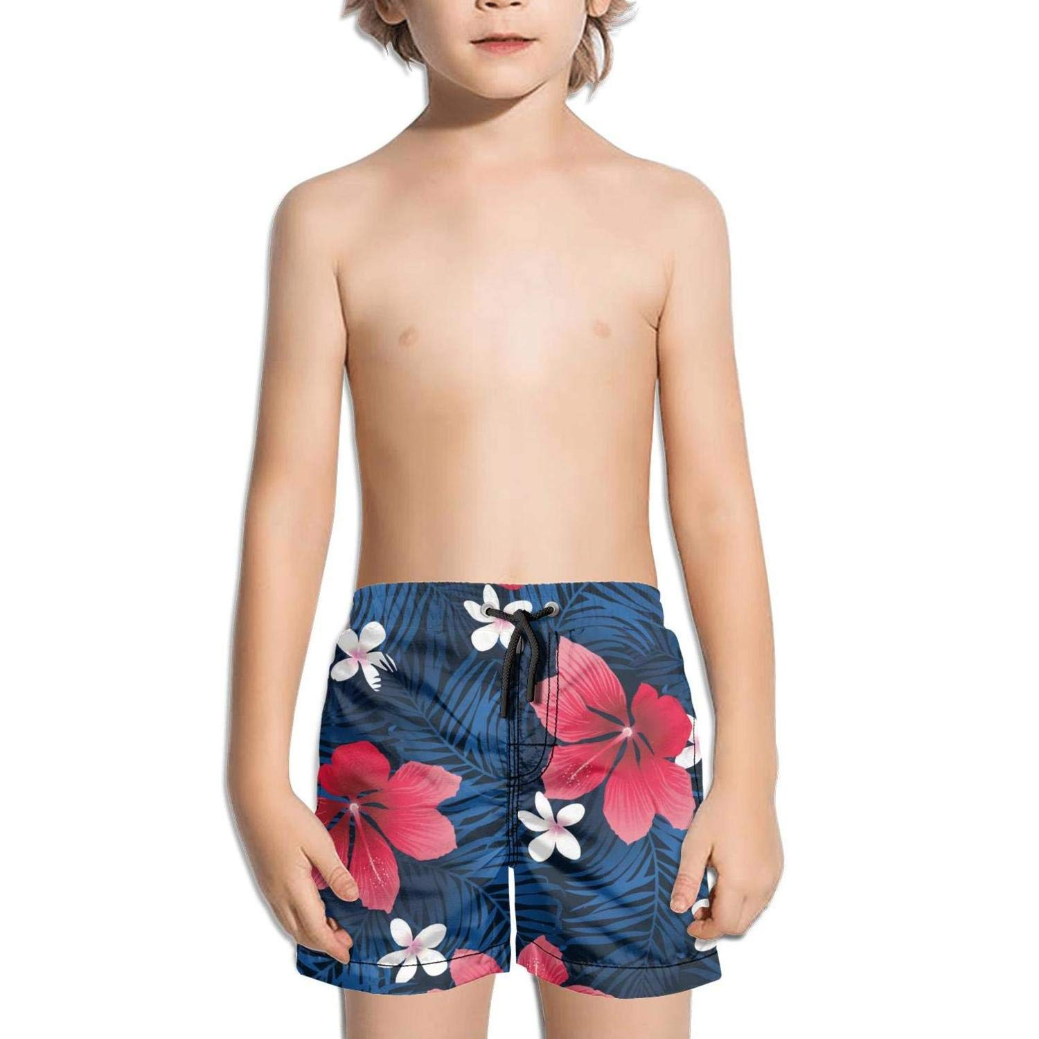 Ouxioaz Boys Swim Trunk Tropical red Fresh Hibiscus Flowers Beach Board Shorts