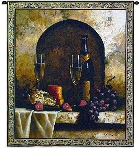 Date to Remember by Loran Speck | Woven Tapestry Wall Art Hanging | Wine with Grapes and Cheese Still Life | 100% Cotton USA Size 53x46