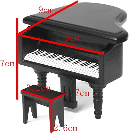 Anniston Dollhouse Furniture 1//12 Dollhouse Miniature Wooden Grand Piano Mould with Stool Doll Room Decor House Playset Set for Toddlers Girls and Boys Black