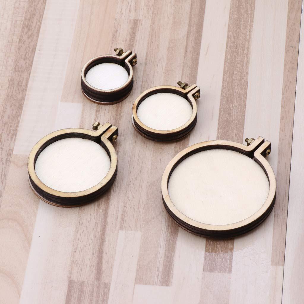 LhiverFR Basteln Kreuzstich aus Holz Mini-Ring Stickerei Rahmen N/ähset rund