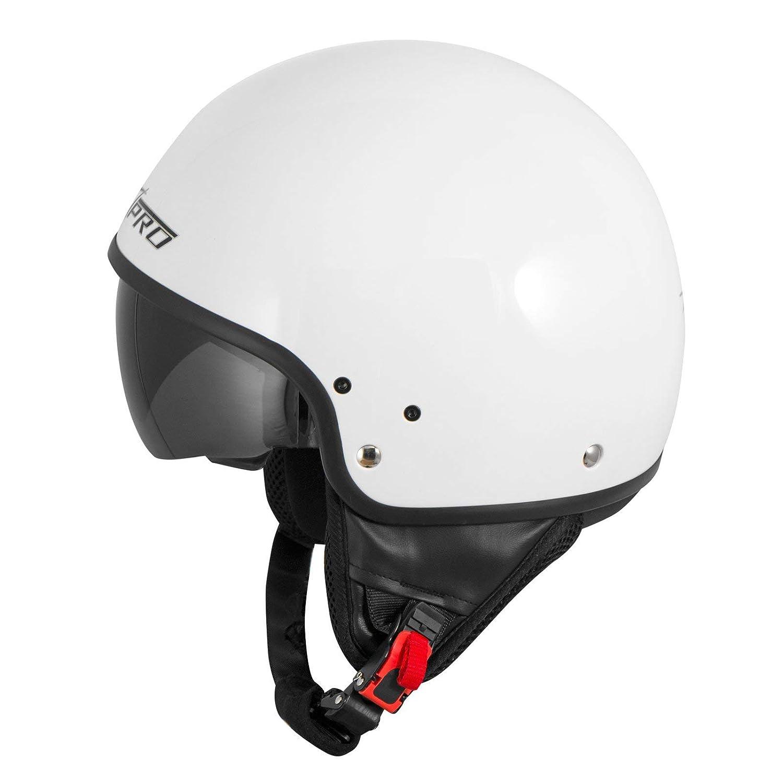 Bianco, 57 cm M A-Pro srl Casco Moto Jet Demi Scooter Certificato ECE 22-05 Visiera Interna Parasole Bianco