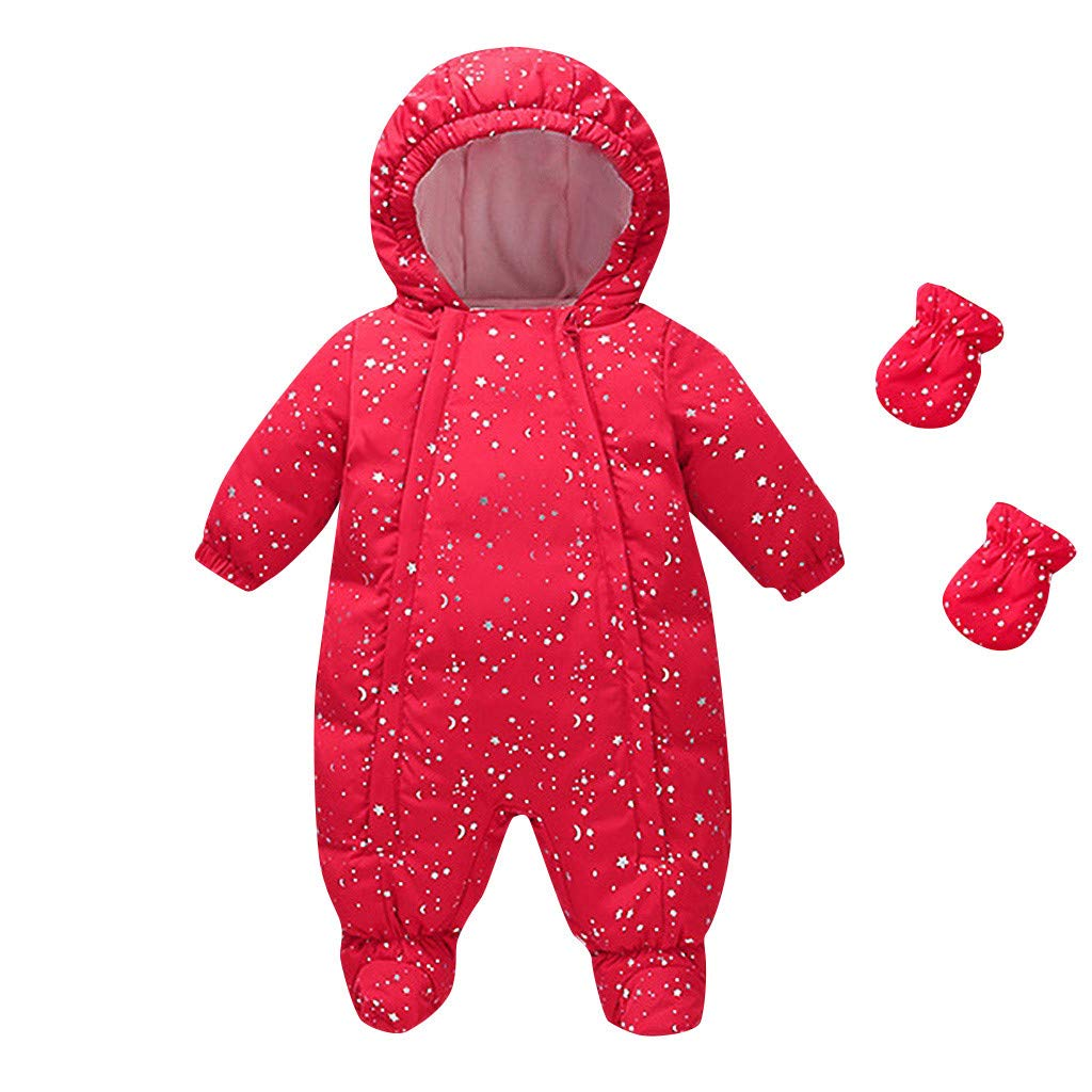 Lanhui Infant Baby Girl Boy Hooded Down Jacket Jumpsuit Gloves Socks Bodysuit Winter Snowsuit Romper by Lanhui