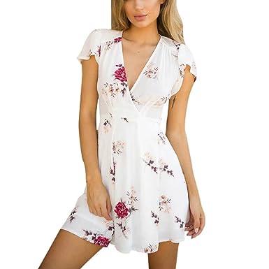 OverDose mujer Cortadas con Cuello En ImpresióN De Flores Boho Mini Verano Lady Beach Summer Sundress Maxi Vestido: Amazon.es: Ropa y accesorios
