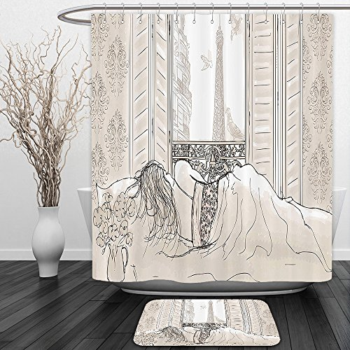Vipsung Shower Curtain And Ground MatParis Decor Parisian Woman Sleeping with the View of Eiffiel Tower from Window Romance Skecthy Modern Art CreamShower Curtain Set with Bath Mats Rugs by vipsung