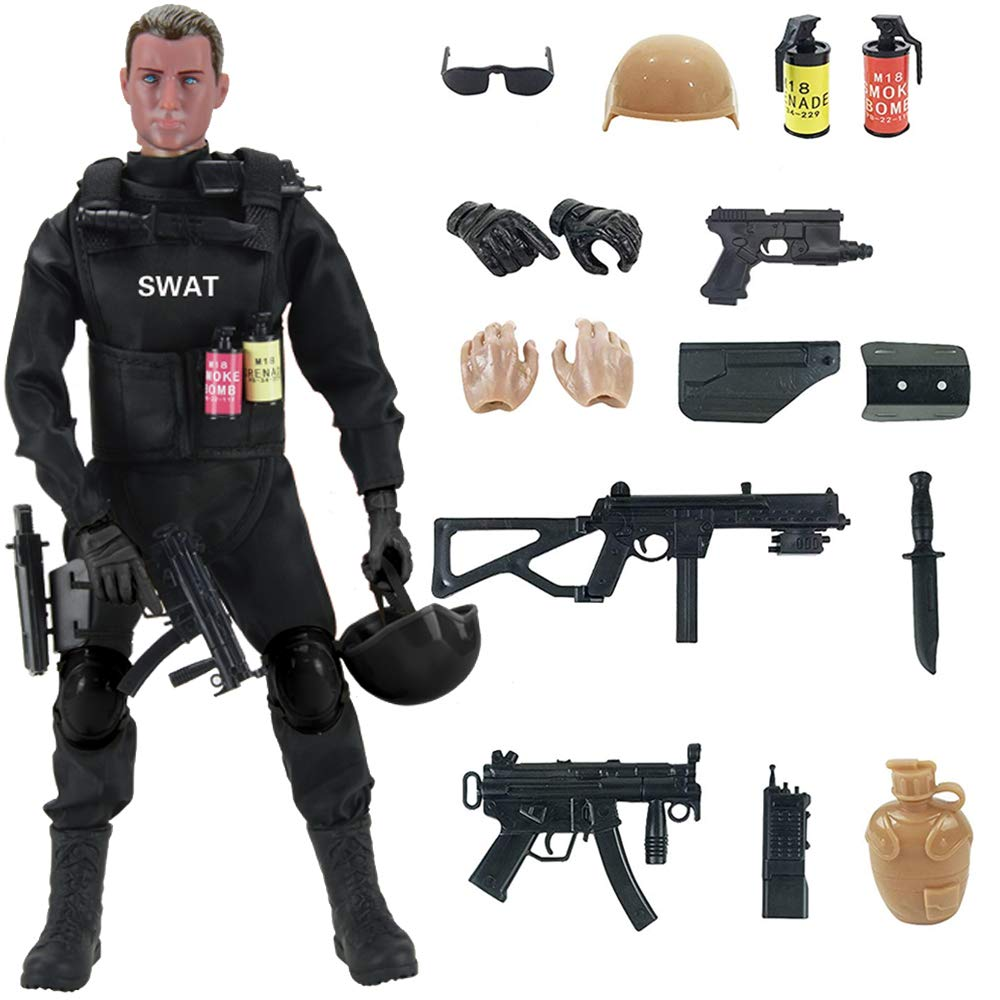 Liberty Imports 12' Special Forces Military Action Figure Army Man Toy Soldier - 30 Articulation Points and 15 Weapons and Accessories (SWAT)
