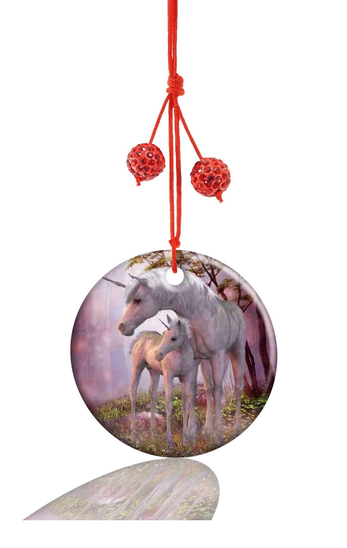 Youroom Unicorn Large Animal Custom Round Porcelain Jewelry Ceramic Crafts Christmas Home Decoration Gift