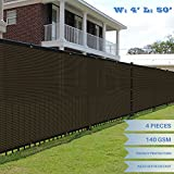E&K Sunrise 4' x 50' Brown Fence Privacy Screen, Commercial Outdoor Backyard Shade Windscreen Mesh Fabric 3 Years Warranty (Customized Sizes Available) - Set of 4