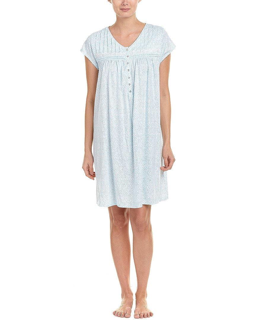 Eileen West Short Cap Sleeve Cotton Knit Nightgown In Floral Flutter  (White Aqua Ditsy ccf7549de