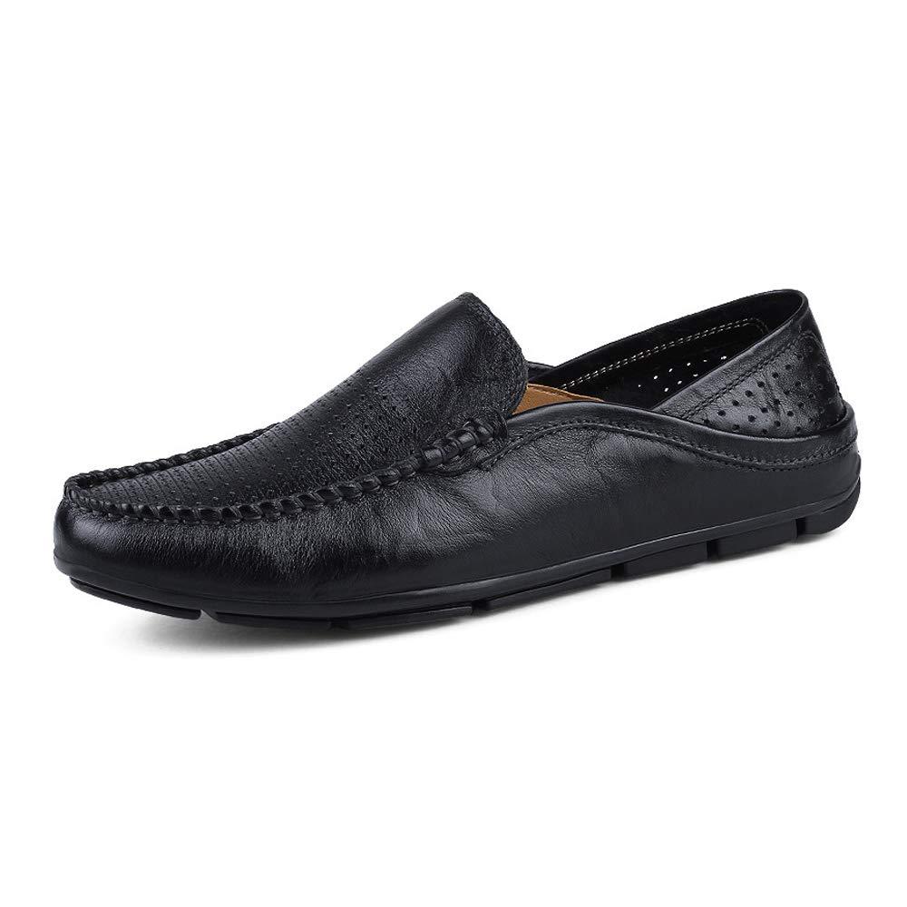 Black Hollow Men's Fashion Moccasins Wave Sole Soft & Super Light Slip On Driving Loafer