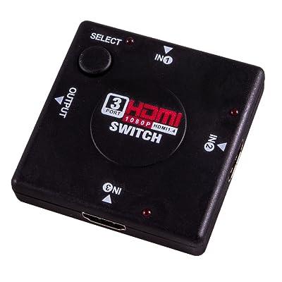 3 Port HDMI Switcher Commutateur 1080P Video Splitter Amplificateur à distance 3 x Entrées 1 x Sortie