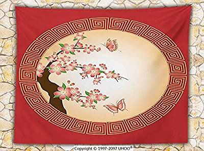 House Decor Fleece Throw Blanket Oriental Cherry Blossom with Butterflies in Circle Frame Ornamental Illustration Throw Pink Red Brown