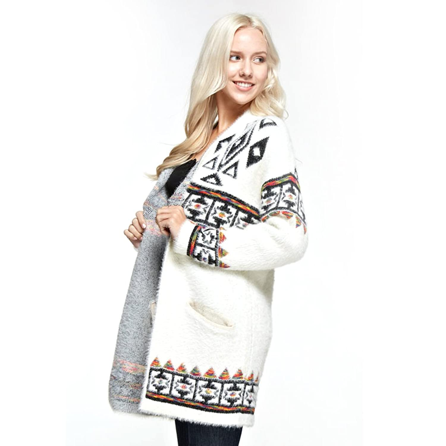 Women's Open Front Fuzzy Cardigan Sweater with White Lined Pockets