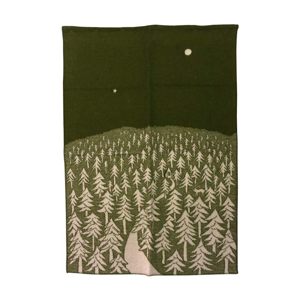 KLIPPAN クリッパン ウールブランケット 130x180 HOUSE IN THE FOREST グリーン B01LX139YM