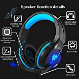 Stereo Gaming Headset for PS4, PC, Xbox One Games, Gamer Over-Ear Headphones with Mic, Noise Canceling, Bass Surround, LED Light for Controller, Laptop, Mac, iPad (Blue)