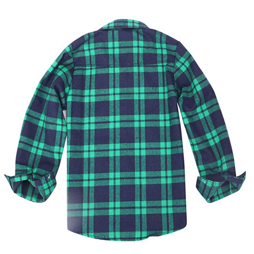 Tronet Kids Plaid T Shirt Tops,Kids Boys Flannel Shirt Long Sleeve Button Down Plaid T Shirt Tops with Pocket Outfits
