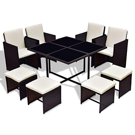 Amazon Com 9 Pcs Wicker Rattan Cube Garden Furniture Set Garden