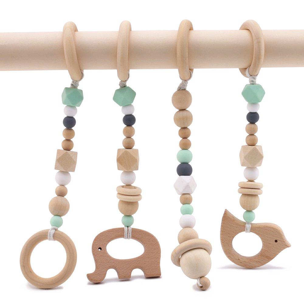 Best for baby Hölzern Ring Baby beißring Silikonperlen Tier Anhänger Rasseln Babyspielzeug Organisch Ungiftig Umwelt Schutz Sinnesspielzeug Geschenk