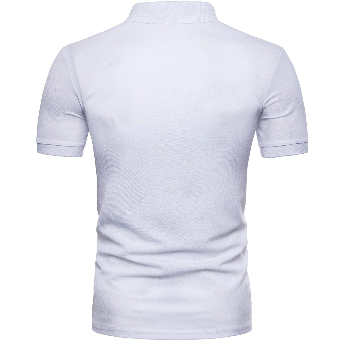 Cottory Mens Slim Fit Tee Digital Printed Polo Shirt Outwear