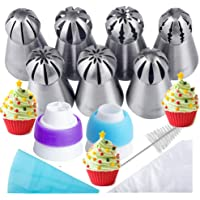 Russian Piping Tips 21PCS Baker's KitSet for Cake/Cupcake Decorating | 7 Russian Tips 10 Disposable Pastry Bags 2 Coupler 1 Reusable Silicone Pastry Bag1 cleaning brush E-bookby Mooker
