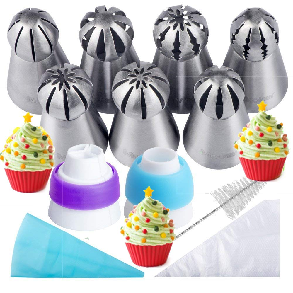 Russian Piping Tips 21PCS Baker's Kit,Set for Cake/Cupcake Decorating   7 Russian Tips, 10 Disposable Pastry Bags, 2 Coupler, 1 Reusable Silicone Pastry Bag,1 cleaning brush, E-book,by Mooker by MOOKER