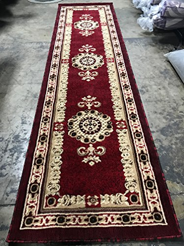 Traditional Long Persian Runner Area Rug Red Design #121 Americana (32 Inch X10 Feet - Cream Red Black