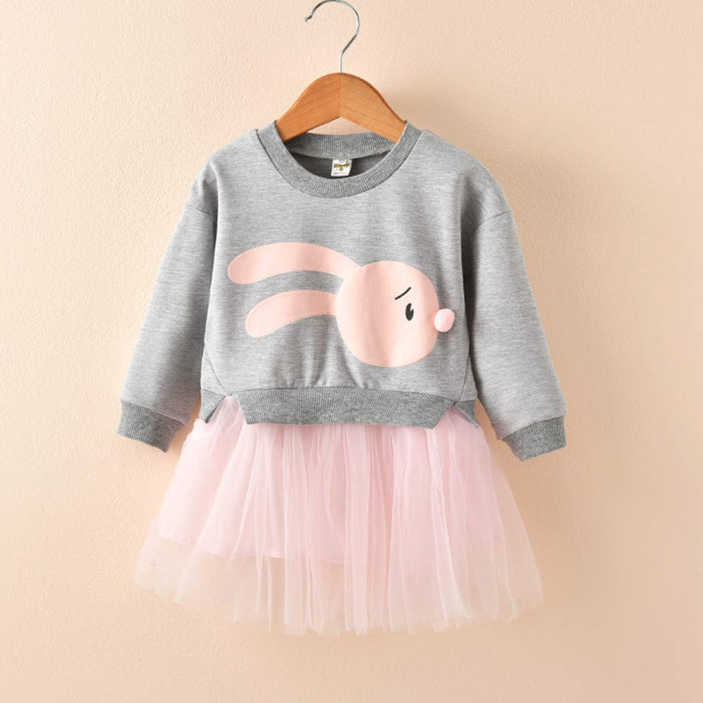 fb826aa4955fe ❤️ Mealeaf ❤️ Kids Baby Girl Tulle Dress Cartoon Bunny Princess Patchwork  Sweatshirt Tutu Skirt Clothes 0-6t