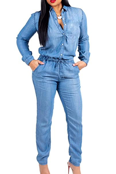 cba8fcaab41 Amazon.com  Vepodrau Women Denim Jumpsuit Slim Fit Long Sleeve Button Up  Jean Rompers  Clothing