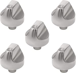 WB03X32194 WB03T10329 Cooktop Range Burner Stainless Steel Control Dial Knob Upgrade by Romalon Compatible with GE Stove/Range Replace WB03X25889 AP5985157 4920893 (5PACK)