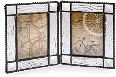 J Devlin Pic 402-2 Glass Double Hinged Picture Frame Holds Two 2 1/2 x 3 1/2 Photos School Wallet Size