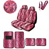 A Set of Animal Print Front and Back Floor Mats, 2 Low Ba...