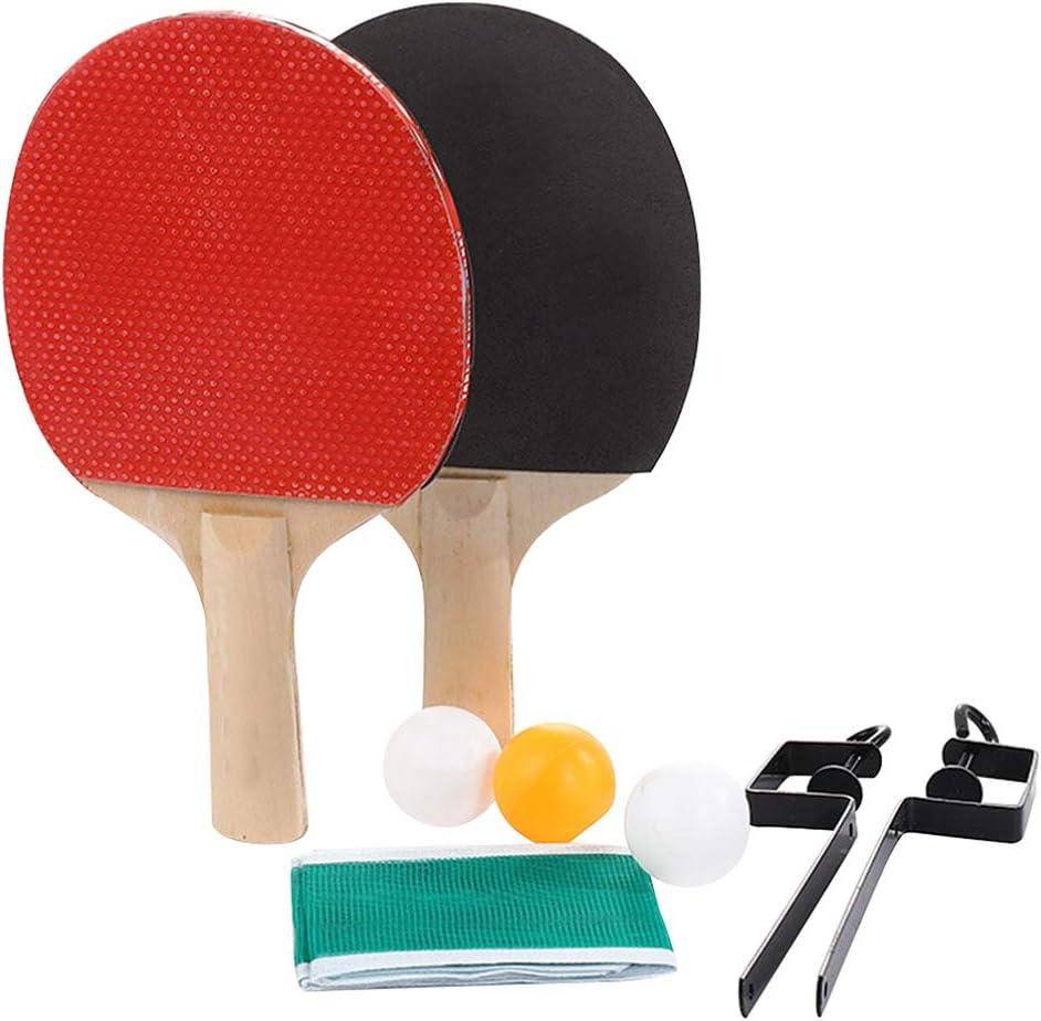 BESPORTBLE Juego de Raquetas de Tenis de Mesa Agarre Ergonómico Paddle de Tenis de Mesa Profesional con Red de Ping Pong Suministros Deportivos de Interior para Adultos Niños