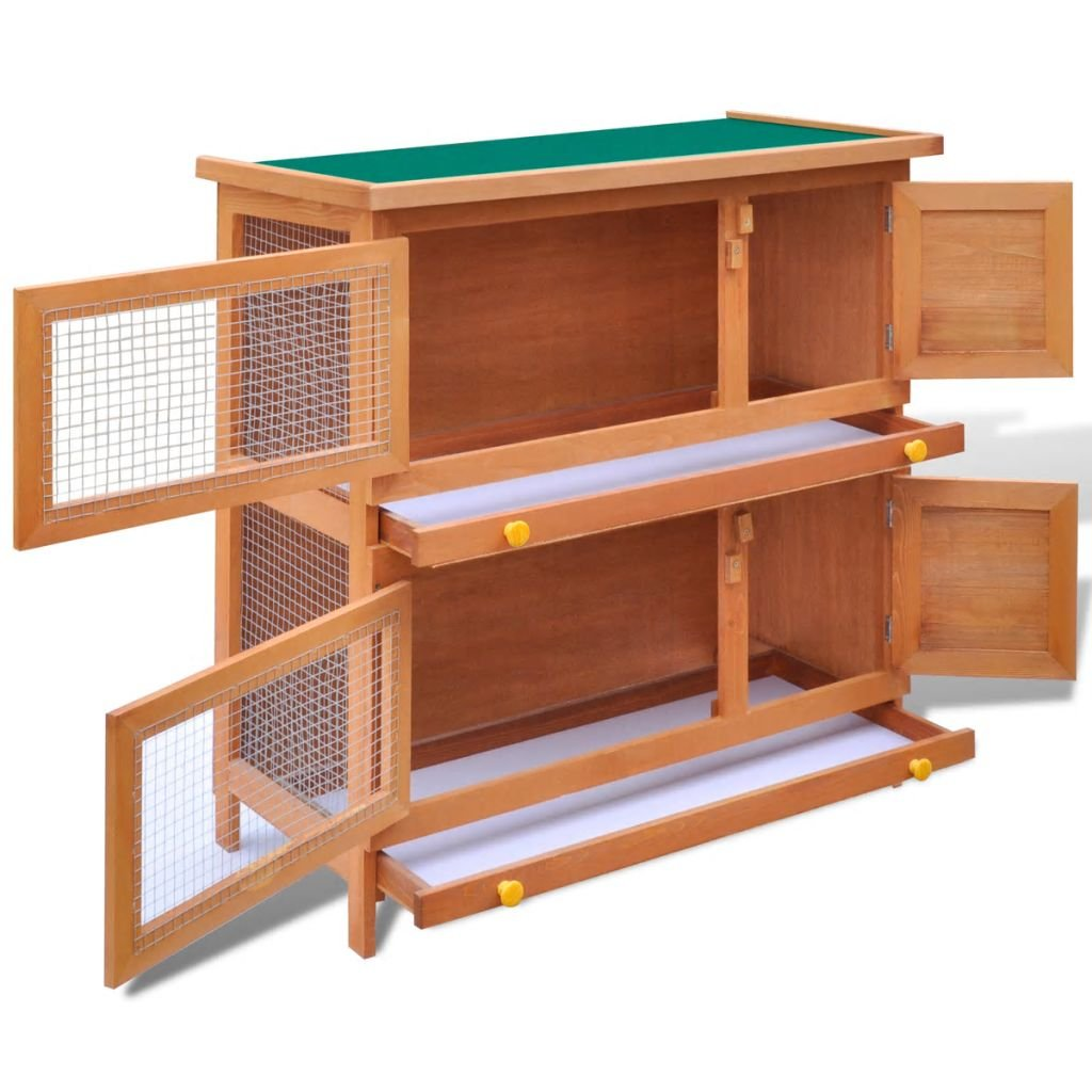 vidaXL 36'' Wooden Rabbit Hutch Bunny Cage Small Animal House Hen Poultry Cage 4 Doors by vidaXL (Image #3)