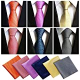 Lot 6 Pcs Mens Ties and 6 Free Matching Pocket Squares, Men's Classic Tie Necktie Woven Jacquard Neck Ties Gift box packing (6+6 style 03)