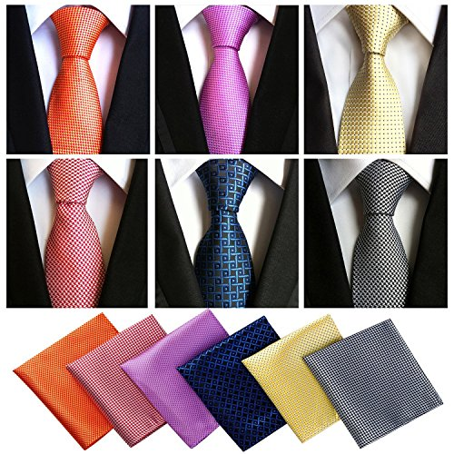 (Lot 6 Pcs Mens Ties and 6 Free Matching Pocket Squares, Men's Classic Tie Necktie Woven Jacquard Neck Ties Gift box packing (6+6 style)
