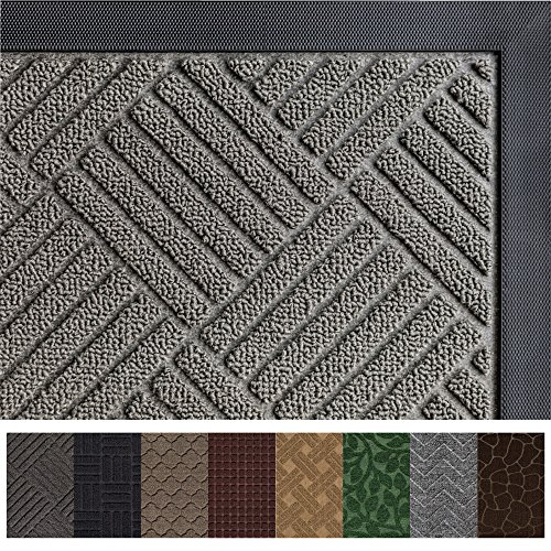 Gorilla Grip Original Durable Rubber Door Mat, 29 x 17, Heavy Duty Doormat, Indoor Outdoor, Waterproof, Easy Clean, Low-Profile Mats for Entry, Garage, Patio, High Traffic Areas, Gray Diamond