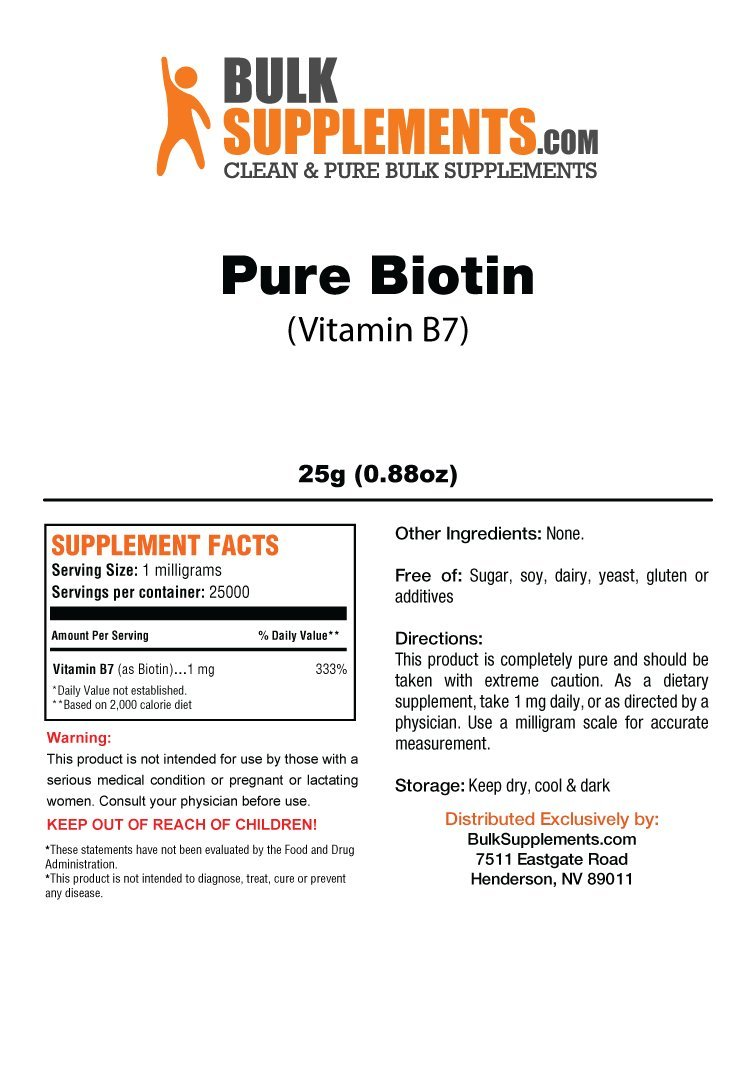Bulksupplements Pure Biotin (Vitamin B7) Powder (25 Grams)