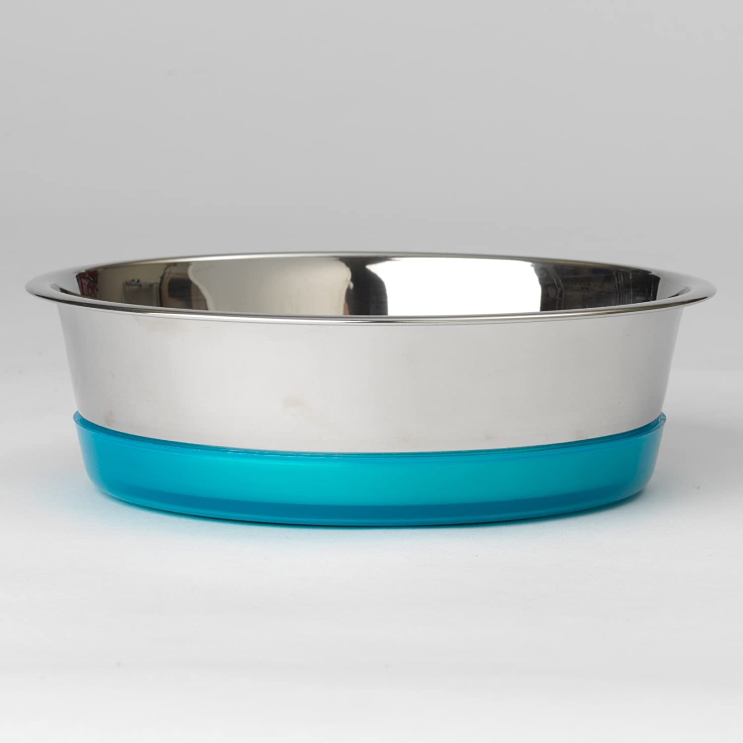 PetRageous 15005 Maui Non-Skid Stainless-Steel Dishwasher Safe Bowl 6.5-Cup Capacity 8.28-Inch Diameter 2.5-Inch Tall for Large and Extra Large Dogs, Translucent Aqua, 8.28