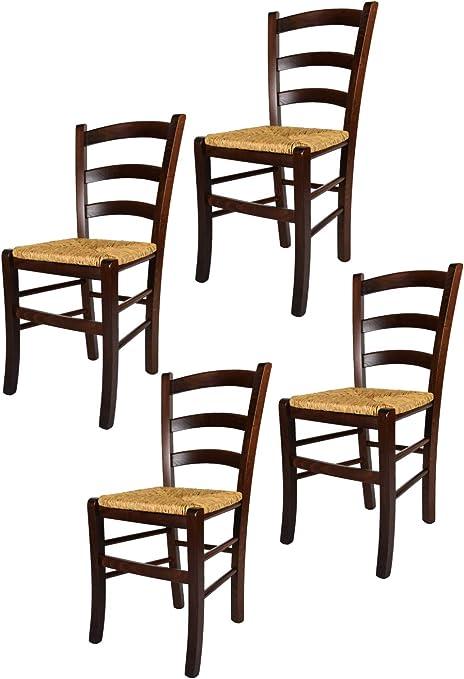 tmcs Tommychairs Set 4 sedie Modello Venezia per Cucina, Bar e Sala da Pranzo, Robusta Struttura in Legno di faggio Levigato Color Noce e Seduta in