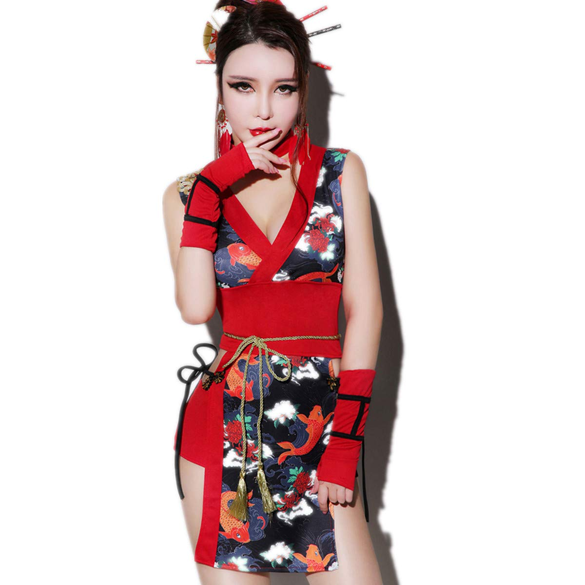 76e44183f TK-show Christmas retro dj female singer cheongsam ds costumes sexy adult  collar dance costume cosplay geisha clothing M code: Amazon.co.uk: Kitchen  & Home