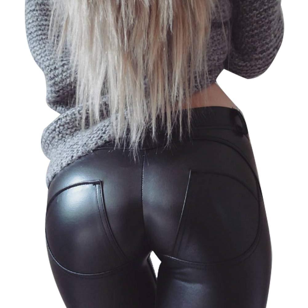 NiceButy pantalones de yoga medias atractivas PU medias del estiramiento de las mujeres de cuero negro (M) Ropa Mujer