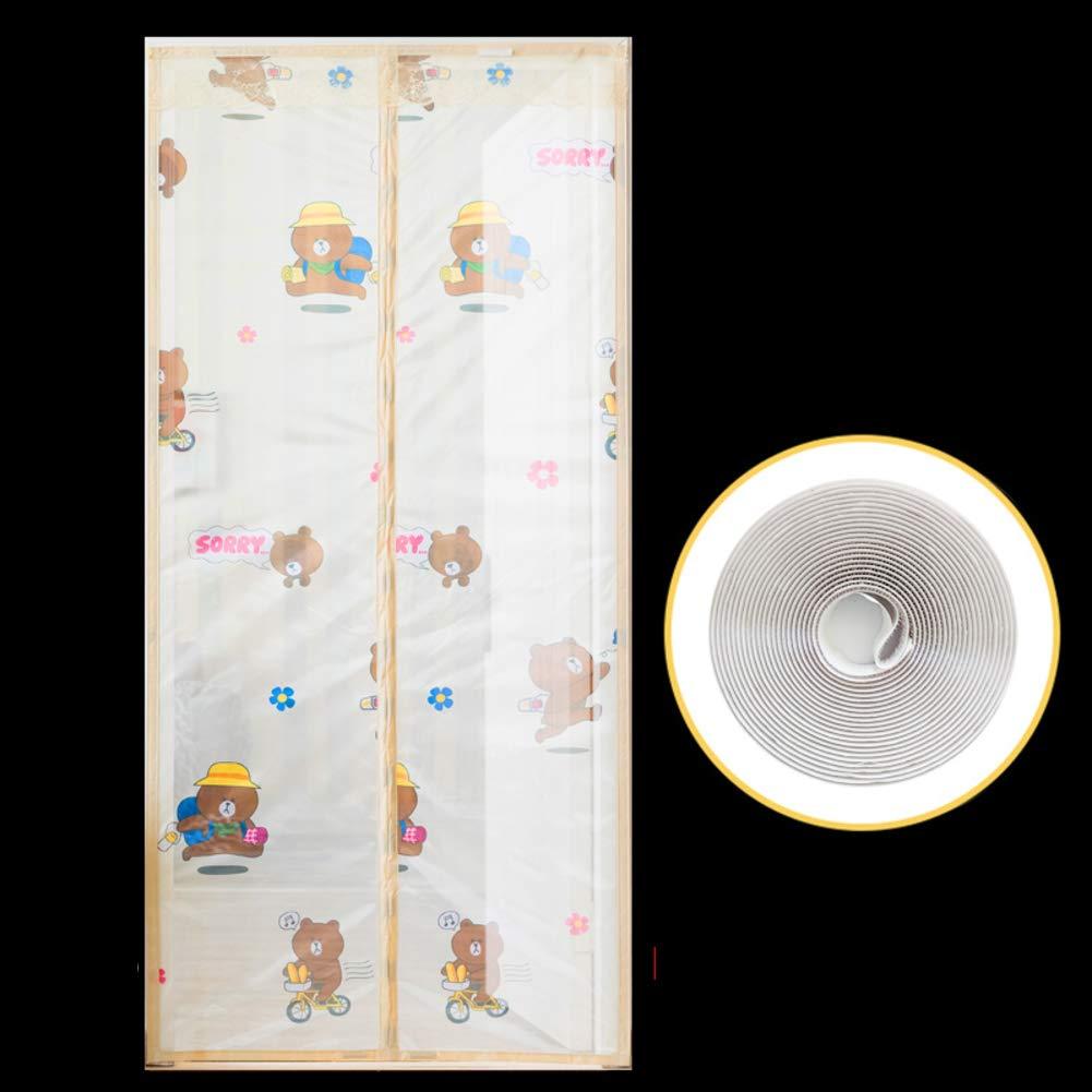 Mute Magnetic Screen Door,Adjustable Stripe Screen Doors with Magnets for Front Door Bedroom Magnetic Screen Door Velcro Magnetic Screen Door mesh-H 95x210cm(37x83inch)