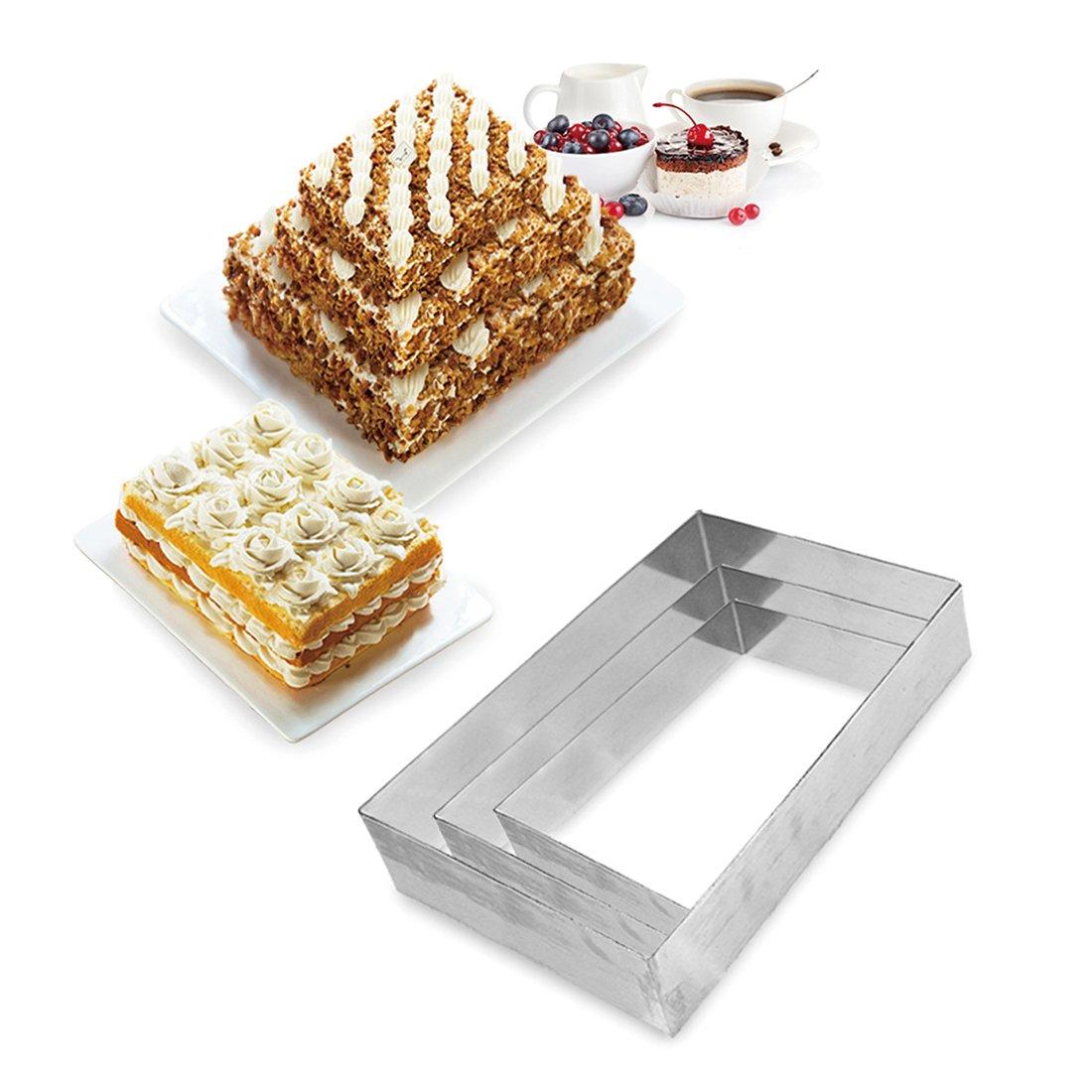 FunWhale 3 Tier Rectangular Multilayer Anniversary Birthday Cake Baking Pans,Stainless Steel 3 Sizes Rings Rectangular Molding Mousse Cake Rings(Rectangular-shape,Set of 3)