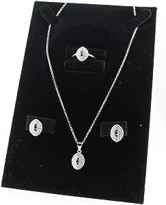 طقم فضة عيار 925 حجر زركون احمر قطع الماس