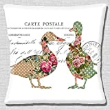Shabby Chic Ducks French Country Style Postcard White - 16 (40cm) Pillow Cushion Cover by Cushions Corner